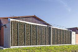 ภาพด้านหน้าสุดของโรงเลี้ยงที่เต็มไปด้วยกิ่งไม้
